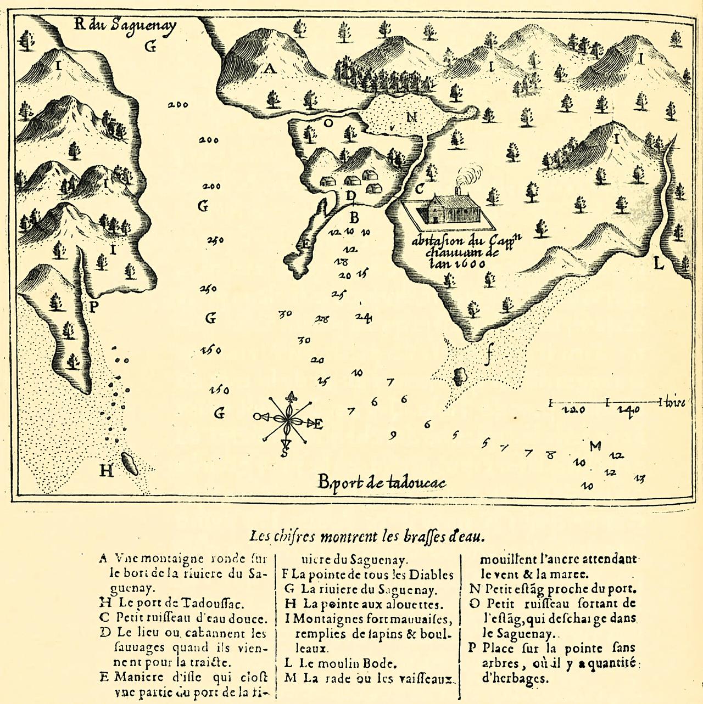 Tadoussac, carte de Samuel de Champlain